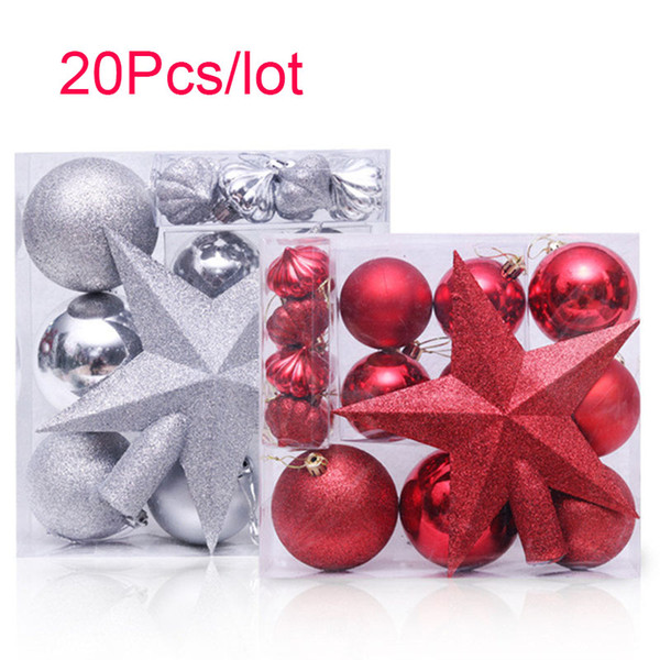 20Pcs/lot Christmas Tree Top Sparkle Stars Hanging Ball Baubles Snowflake Xmas Decoration Ornament Christmas Decor supplies