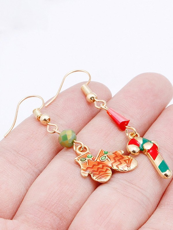 Christmas Gloves Candy Shape Asymmetric Earrings