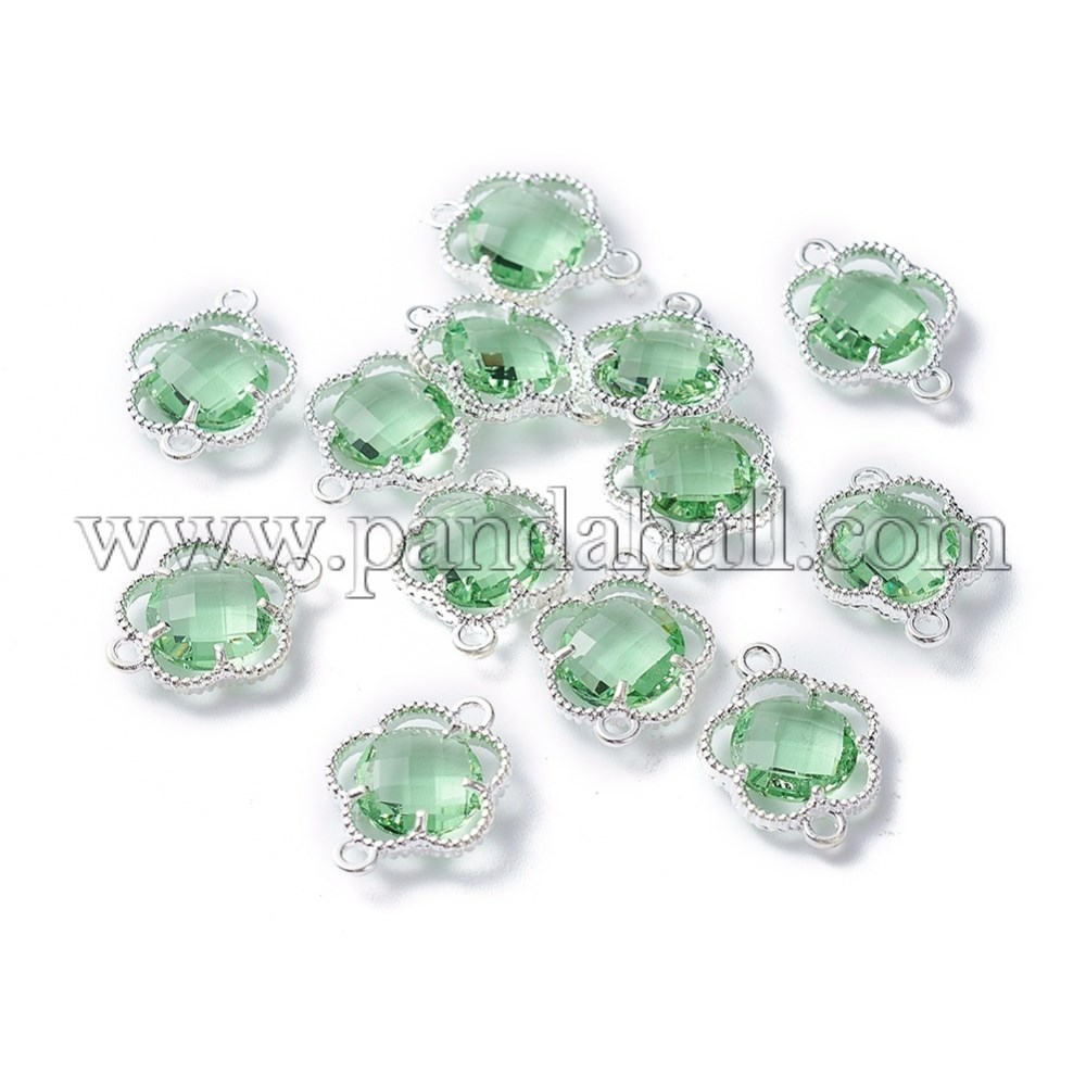 Glass Links/Connectors, with Environmental Alloy Open Back Berzel Findings, Faceted, Flower, Silver, Aquamarine, 15.5x12x3mm, Hole: 1.4mm