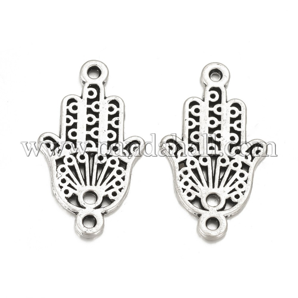 Tibetan Style Alloy Links, Matte Style, Hamsa Hand/Hand of Fatima /Hand of Miriam, Cadmium Free & Nickel Free & Lead Free, Thai Sterling Silver Plated, 27x15.5x1.5mm, Hole: 1.5mm