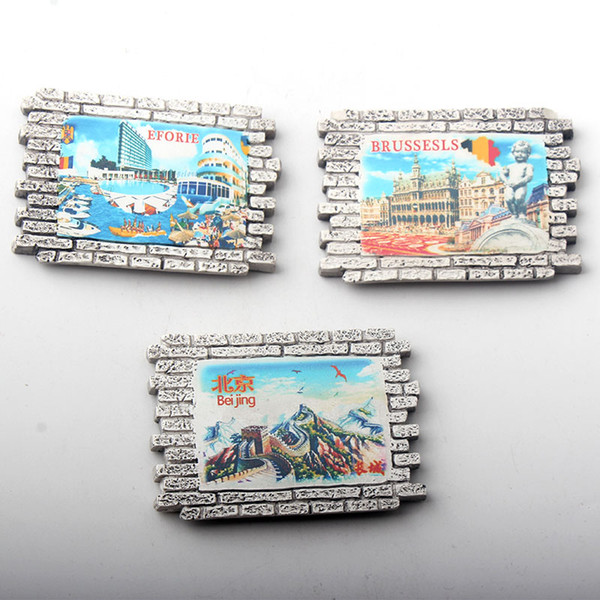 eforie brussels beijing resin 3d fridge magnet new design souvenir 3pcs