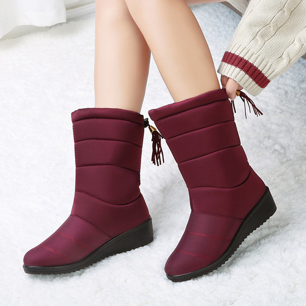 Women Waterproof Winter Boots Female Shoes Mid-Calf Boots Warm Ladies Snow Wedge Rubber Shoes