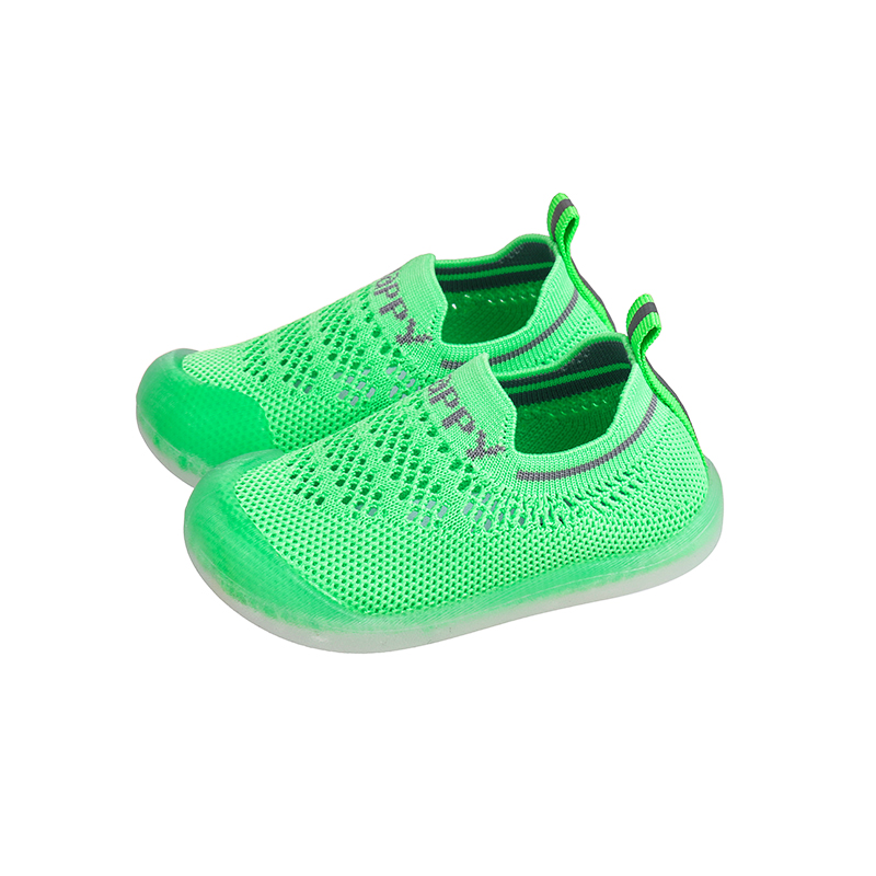 Toddler / Kid Breathable Knitted Letter Striped Sneakers