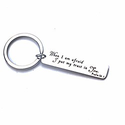 bible verse when i am afraid i put my trust in you psalm 56:3 keychain (silver)
