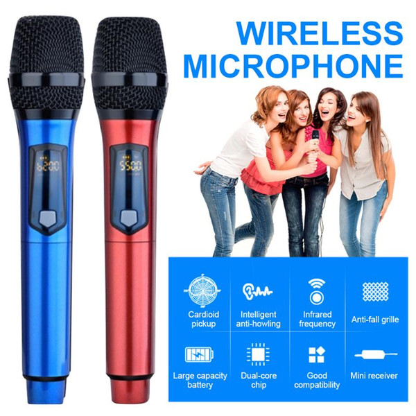 Universal Wireless Handheld Microphone Hypercardioid for Home Outdoor Conference Karaoke Professional Stereo Mic Portable FM