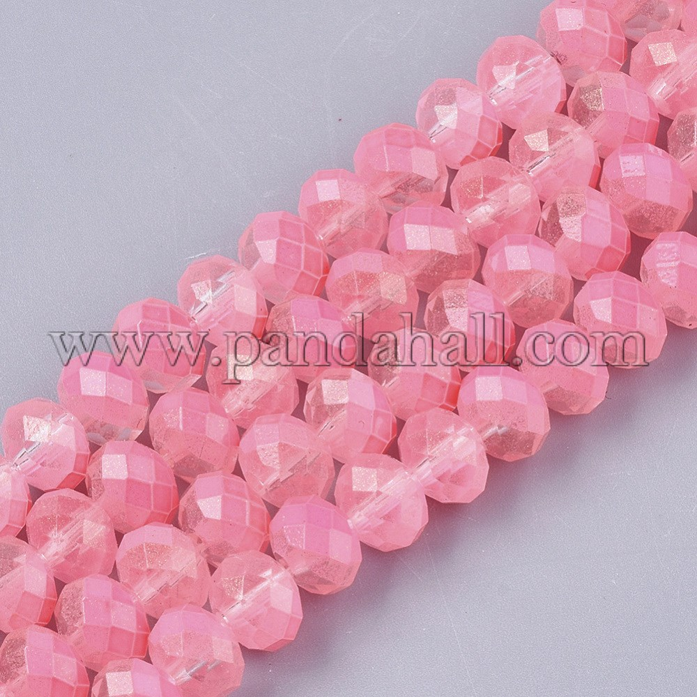 Spray Painted Glass Beads Strands, with Silver Glitter, Faceted, Rondelle, HotPink, 8x6mm, Hole: 1.2mm; about 72pcs/strand, 16.93''