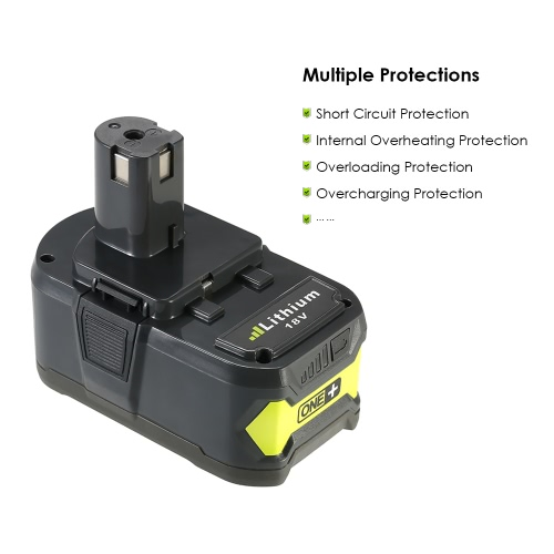 Meterk P108 18V 4.0Ah Power Tools Battery High Capacity Rechargeable Lithium Replacement Battery Pack for Ryobi