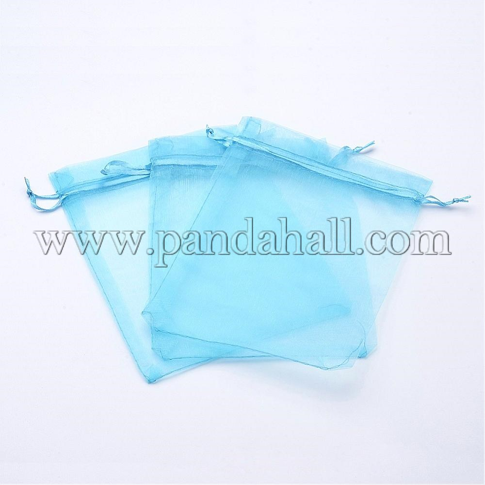 Organza Bags, Rectangle, SkyBlue, 18x13cm