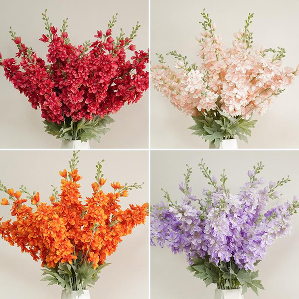 Wedding Ceiling Artificial Flower Bouquet Shooting Props Wholesale Home Fake Flower Simulation Flocking Delphinium Plant Grass