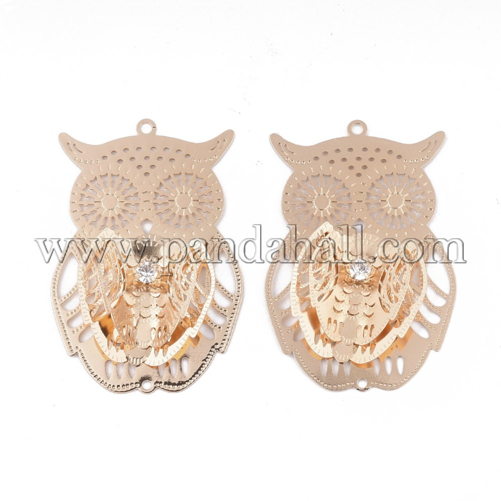 Brass Links/Connectors, with Crystal Rhinestone, Owl, Light Gold, 53.5x35x7mm, Hole: 2mm