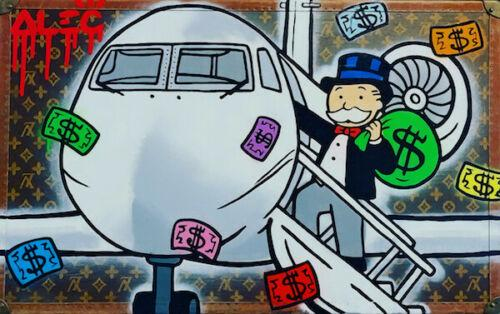 alec monopoly oil painting on canvas graffiti art private airplane home decor handpainted &hd print wall art canvas large pictures 191025