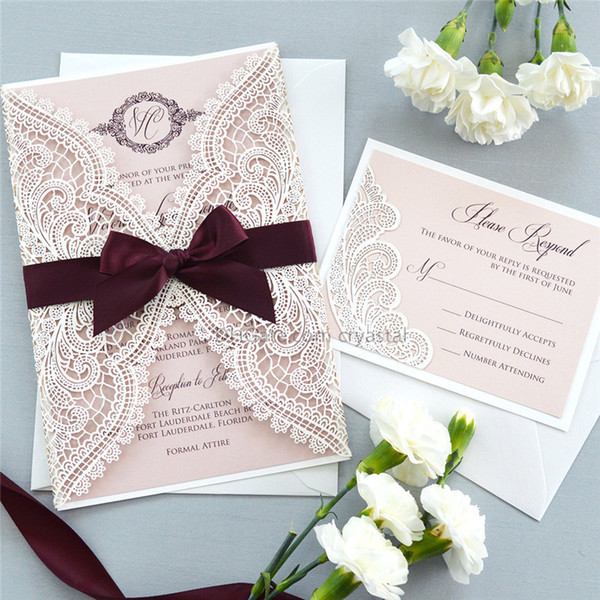 WHITE CHANTILLY LACE Laser Cut Wrap Invitation - White Laser Cut Wedding Invitation with Blush Shimmer Insert and Burgundy Ribbon Bow