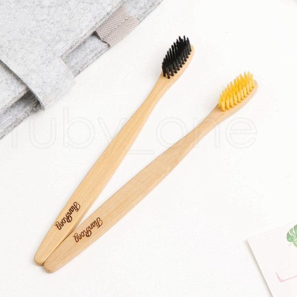 dhl natural bamboo toothbrush wood brosse à dents bamboo soft bristles eco bamboo fibre wooden handle toothbrush tools for adults