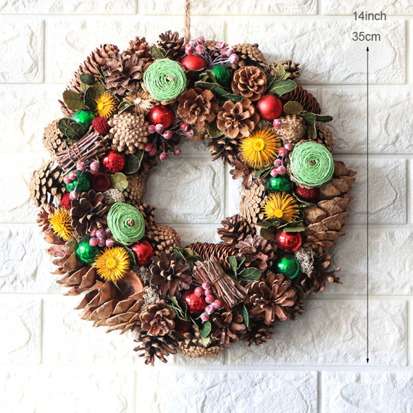 "D14"" Home Decor Wedding Party Dry Flowers Pinecones Wreath for Door New Year Christmas Decorations Navidad Wall Wreaths Decors"