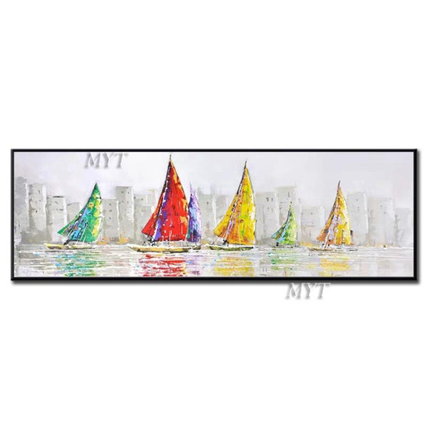 Abstract 100% Hand Painted Sailing Boat Oil Painting Artwork And Craft Wall Canvas Paintings Picture Art For Hotel Decoration