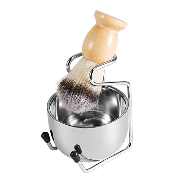 Men's Shaving Brush Set Badger Hair Wood Handle Stainless Steel Foam Bowl Barber Men Facial Beard Cleaning Shave Tool HHA1184