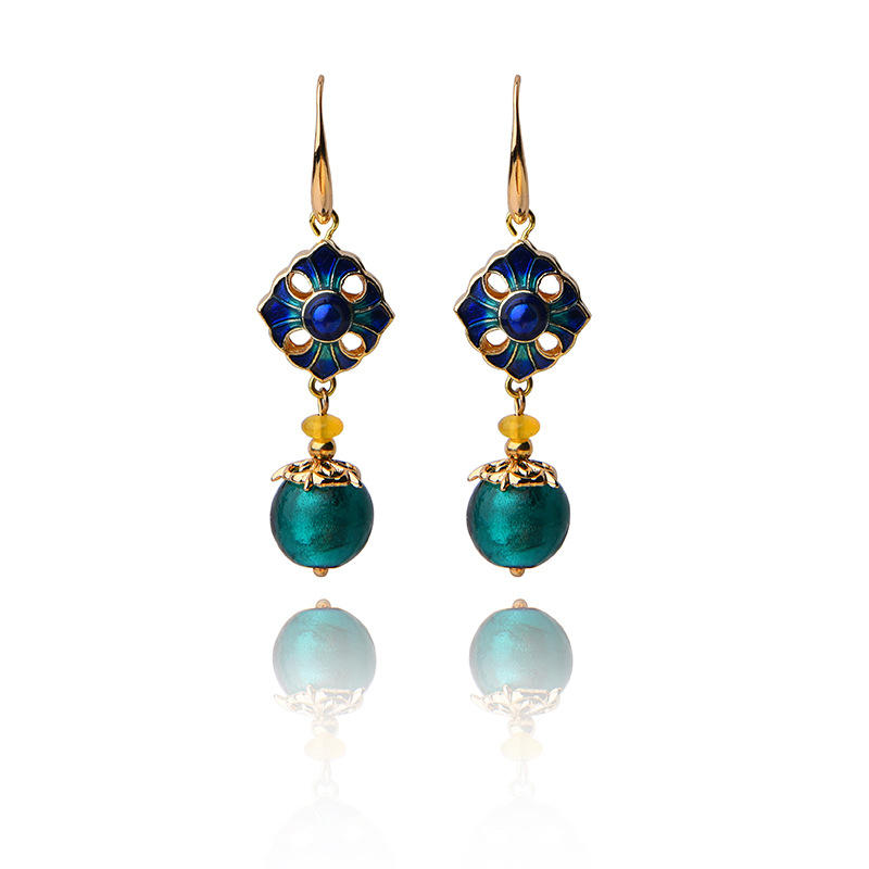 Cloisonne Flower Agate Handmade Gold Earring for Women