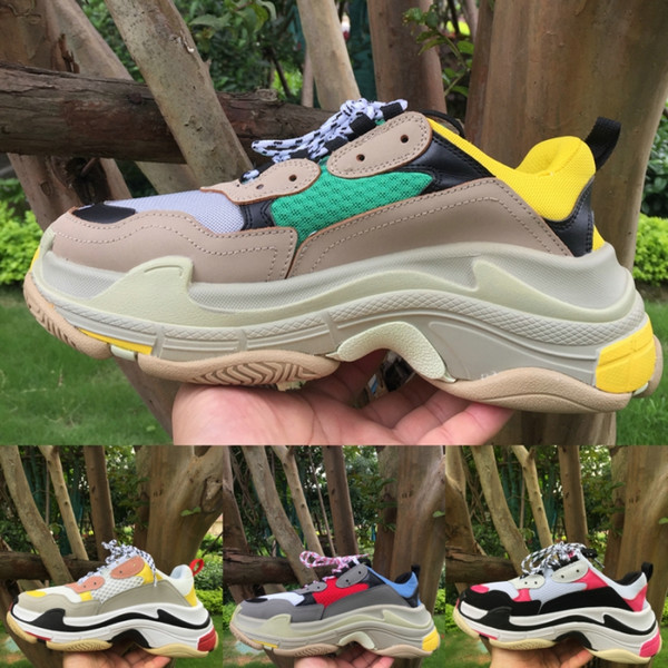 Mens Womens multicolor Triple S pairs 17FW Sneakers Balck White Pink Fashion Women Shoes Platform Men running trainers