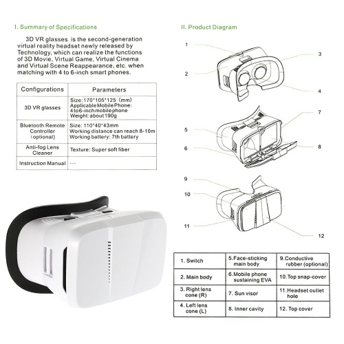 Andoer Portable  3D VR Glasses Virtual Reality VR Head Mount With Headband VR For All 3.5