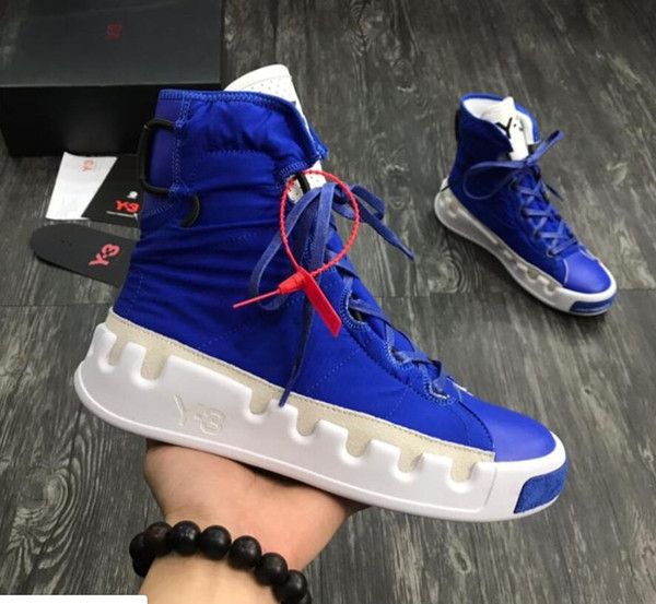 Hot Sale-st Y-3 NOCI0003 Red White Black gray blue High-Top Men Sneakers fashion Genuine Leather Y3 Casual Shoes Boots