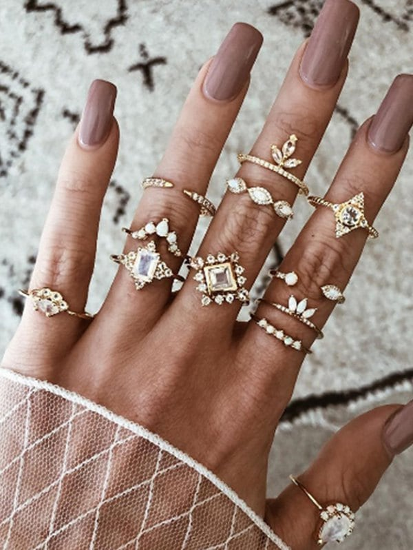 12 Pcs Retro Rhinestone Geometric Ring Set