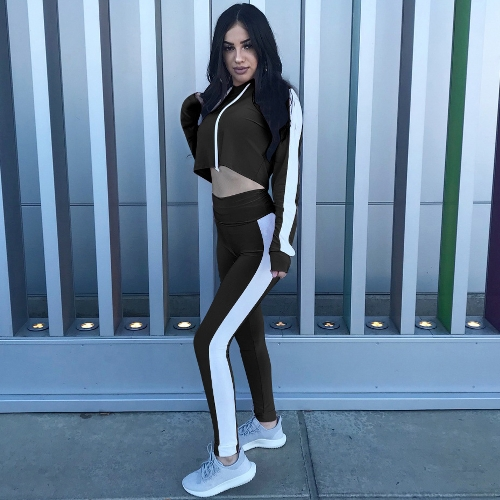 Women Sport Set Crop Hoodies Pants Long Sleeves Splicing Side Tights Gym Fitness Casual Two Pieces