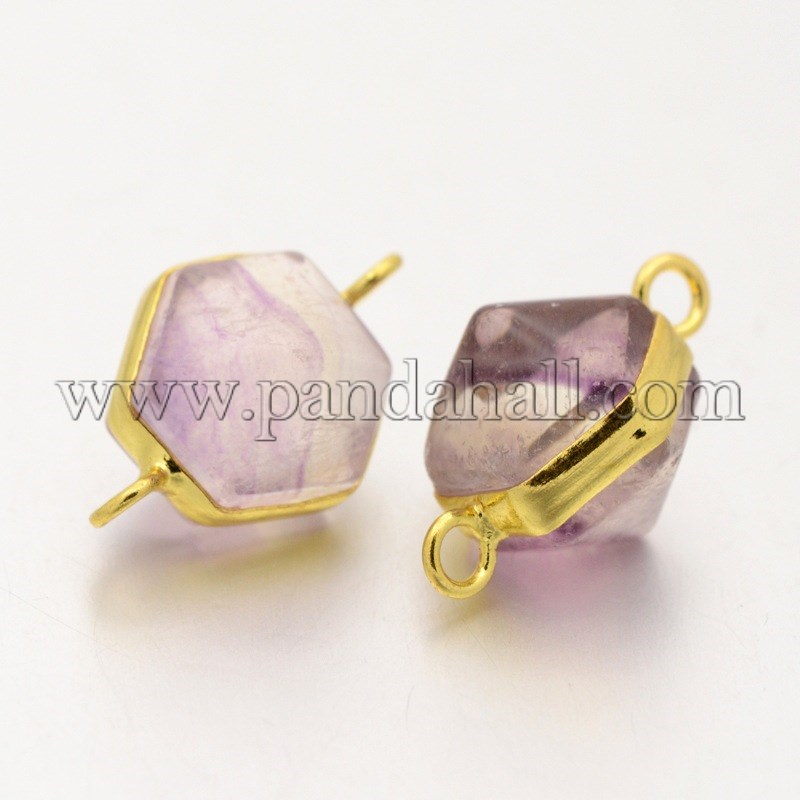 Hexagon Golden Tone Brass Gemstone Links/Connectors, Fluorite, 21x14x14mm, Hole: 2mm